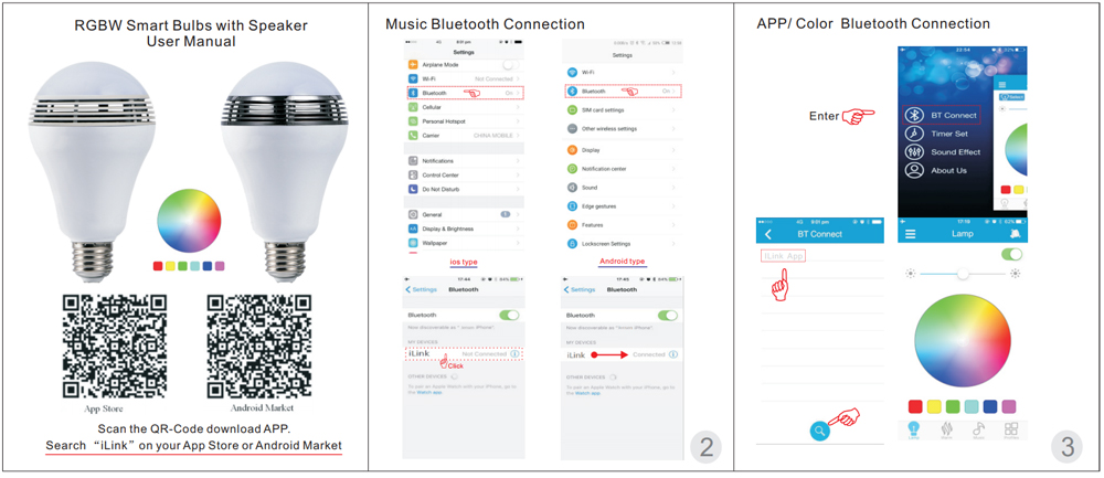 Bec SMART 8W, 400lm, E27 cu boxa de 3W si control prin smartphone