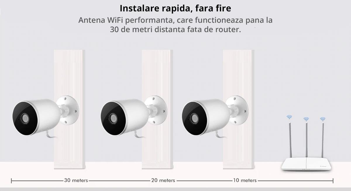 Camera supraveghere IP de exterior 1080P SMART, WiFi Tuya/Smart Life compatibil Alexa si Google Assistant, rezistenta la apa