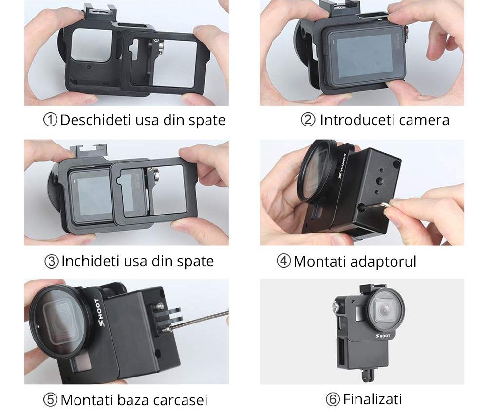 Carcasa de protectie speciala pentru vlogging, compatibila cu GoPro Hero 5 / 6 / 7 Black
