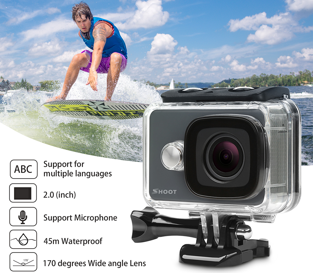 Camera video sport 4K, Shoot, 14 MP cu telecomanda WiFi
