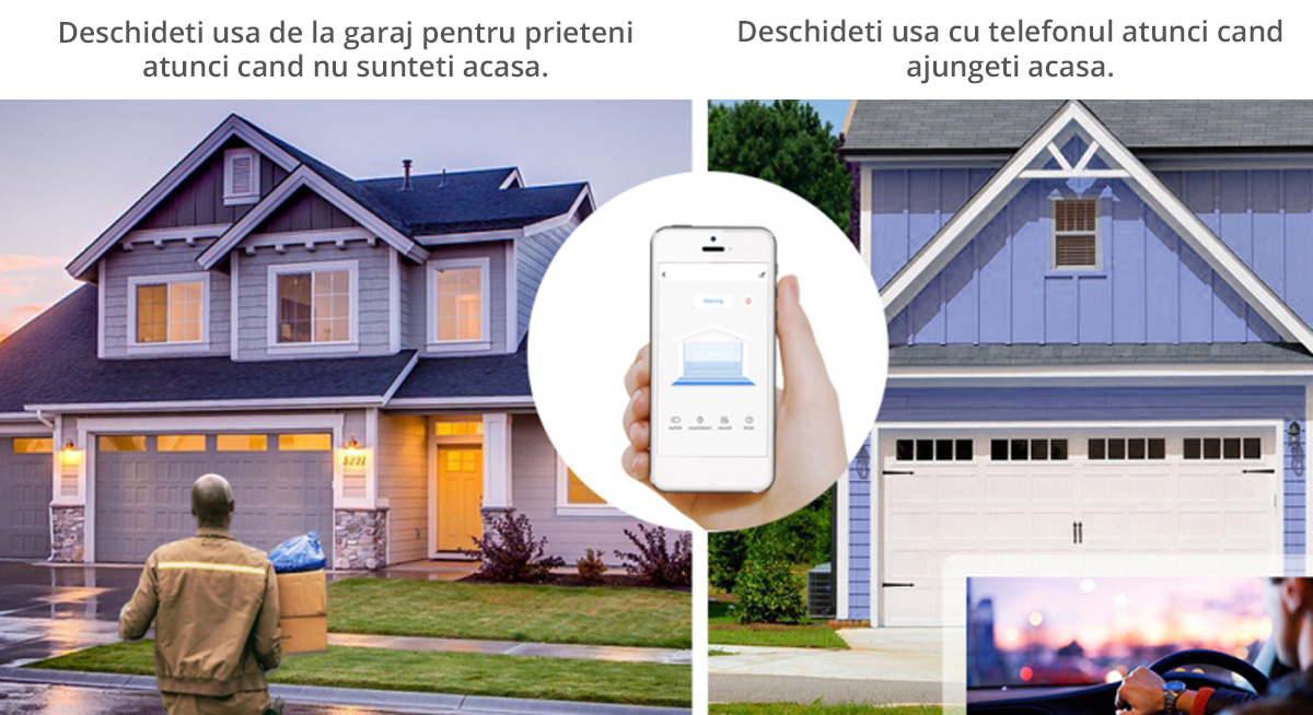 Kit control usa de garaj SMART WiFi Tuya, Smart Life compatibil Alexa si Google Assistant
