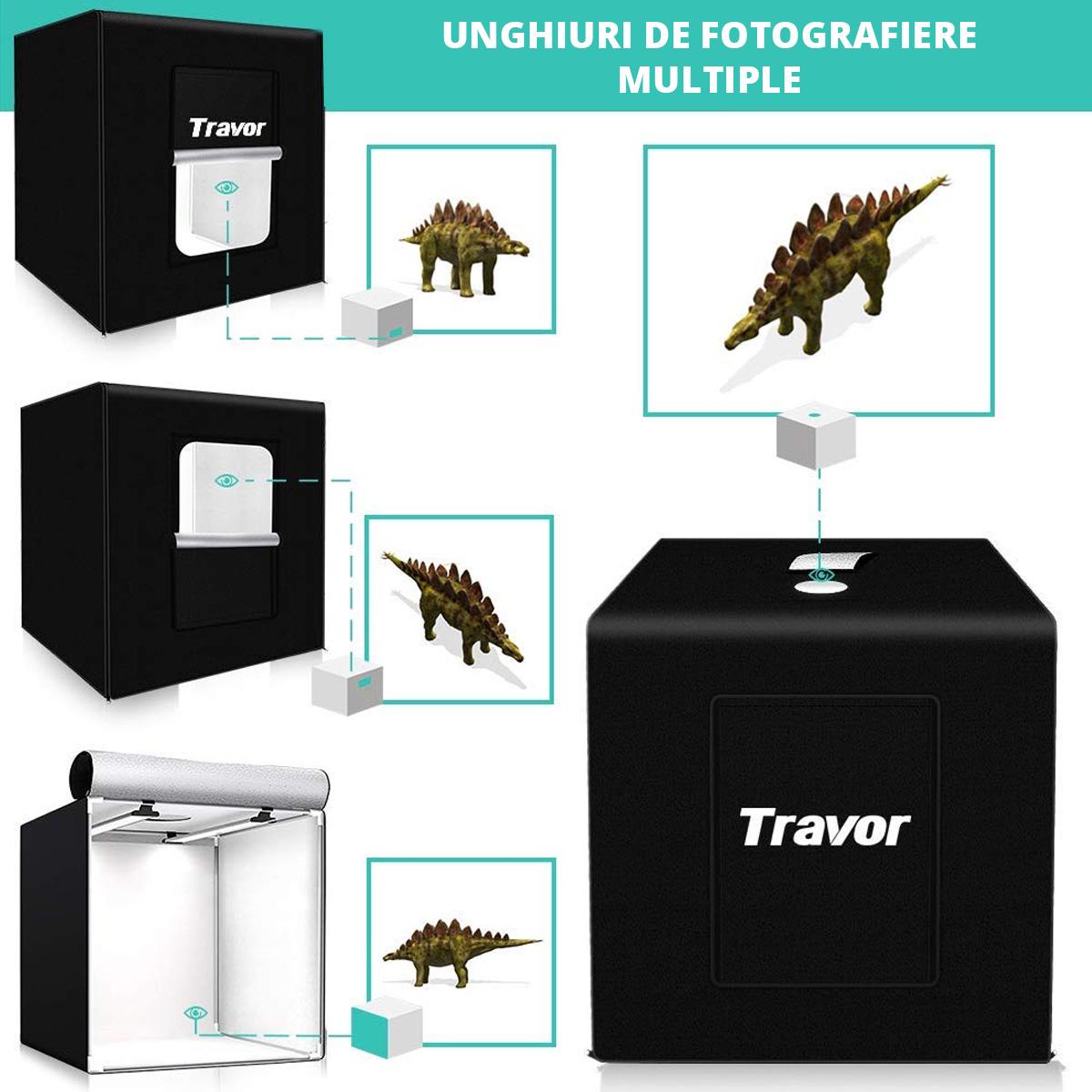 Studio Box Travor cu lumini LED, fundaluri si trepied incluse, 80 x 80 x80 cm