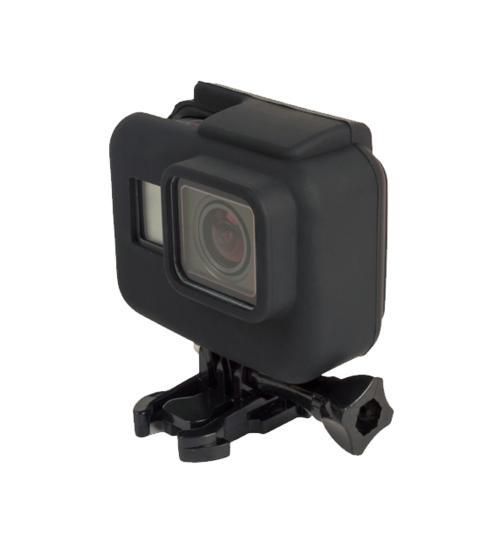 Carcasa de protectie din silicon cu rama, compatibila cu GoPro Hero 5 / 6 / 7 (Negru)