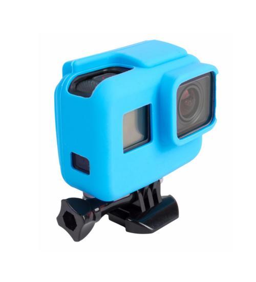 Carcasa de protectie din silicon cu rama, compatibila cu GoPro Hero 5 / 6 / 7 (Albastru)