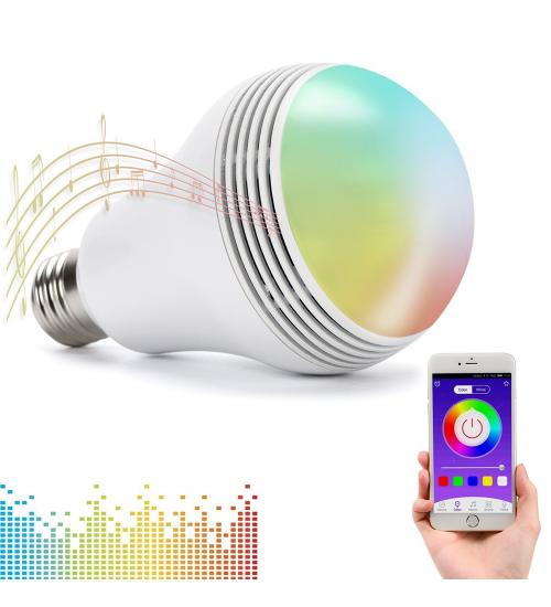 Bec SMART 8W, 400lm, E27 cu boxa de 3W si control prin smartphone  (Alb)
