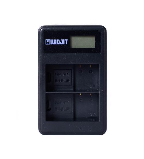 Incarcator dual Widjit pentru baterii EN-EL15, DSLR Nikon (Negru)