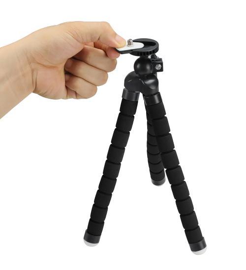 Trepied flexibil pentru camere video sport si telefoane mobile (Negru)