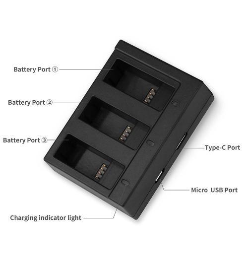 Incarcarcator triplu pentru baterii GoPro Hero 5 / 6 / 7 (Negru)