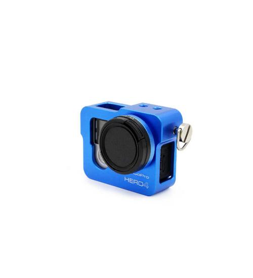 Carcasa de protectie din aluminiu cu filtru UV, GoPro Hero 4 (Albastru)