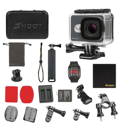 Camera video sport 4K, Shoot, 14 MP cu telecomanda WiFi (Negru)