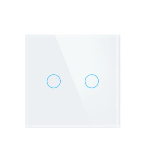 intrerupator wireless tactil alb cu doua butoane