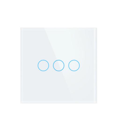 intrerupator wireless tactil alb cu trei butoane