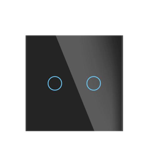 intrerupator wireless tactil negru cu doua butoane
