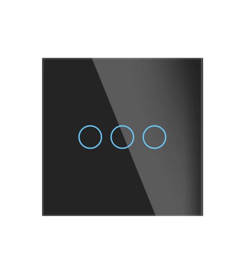 intrerupator wireless tactil negru cu trei butoane