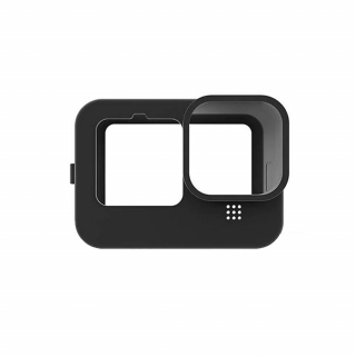 Carcasa de protectie din silicon si capac obiectiv, compatibile cu GoPro Hero 9