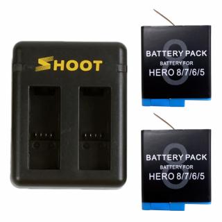 Incarcator dual + 2 baterii tip acumulator pentru GoPro Hero 8