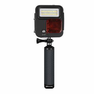 Carcasa subacvatica cu lampa LED, monopod si filtru rosu