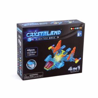 Puzzle cuburi cu LED 4 in 1 - Aeronoava, Avion, Nava Spatiala - 48 piese