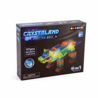 Puzzle cuburi cu LED 6 in 1 - Animale, Rechin, Dinozaur, Hipopotam, Crocodil - 101 piese