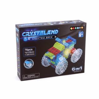 Puzzle cuburi cu LED 6 in 1 - Camion, Atv, Masina de curse, Masina de formula 1 - 76 piese